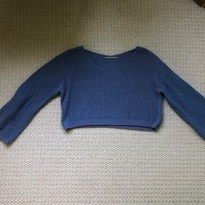Cropped wide neck sweater